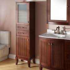 Bathrooms Design White Towel Cabinet Free Standing Linen