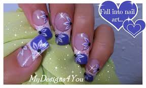 Floral Nail Art Tutorial | Purple French Tip Nails | Long Summer ...