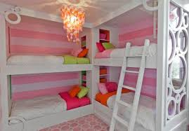 Adorable Design Of The Pink And White Wall Ideas With White Bunk Beds For  Girls Ideas