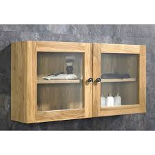solid oak double door glass wall cabinet