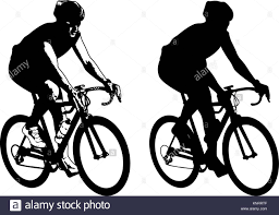 Bicyclist sketch illustration and silhouette vector stock image