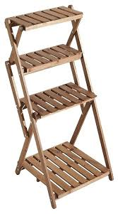 foldable wood slat plant rack decorative indoor outdoor display shelf stand transitional planter hardware and accessories by decor love