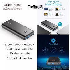 Pin sạc dự phòng ANKER PowerCore III Elite 25600 sạc nhanh 60W cho  Mabook/Laptop - Mã A1290