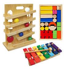 Bộ xếp hình lâu đài + trò chơi lăn banh + đàn mộc cầm bằng gỗ 7 thanh  (Combo 3 món đồ chơi gỗ phát triển trí tuệ cho bé) - Khác
