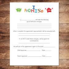 Printable Boys Contract Behavioral Chart Behavior