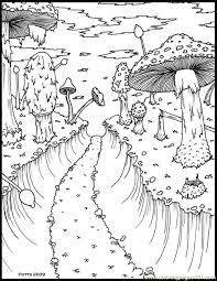 Small Picture Hthroughmushroomforestsmall 1 Coloring Page Free Forest Coloring