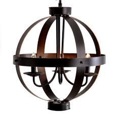 3 light bronze metal orb pendant