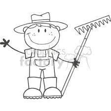 rake clipart black and white. Exellent Black Black And White Farmer Boy Holding A Rake In Rake Clipart Black And White E