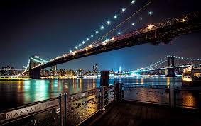 Brooklyn Bridge Lights New York City Sky City Lights Water Brooklyn Brooklyn