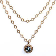 catherine popesco round crystal frame gold pendant necklace 42 long