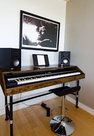 cherry wood piano stand studio work station with pipe legs