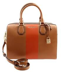 Michael Kors Center Stripe Medium Mercer Duffel Acorn Orange Satchel Bag    eBay