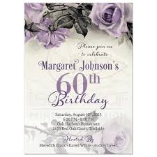 60 birthday invitations 60th birthday invitation vintage purple sterling silver rose