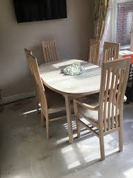 Limed Oak Dining Table And 6 Chairs With Matching Dresser In Sutton