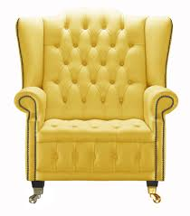 venetia yellow leather queen anne armchair