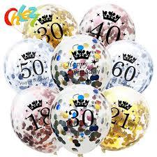 Happy Birthday Decoration <b>10Pcs Rose Gold Silver</b> Glitter Confetti ...