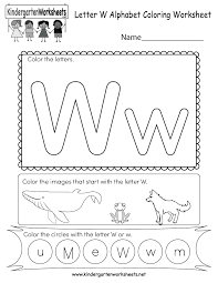 These free phonics worksheets may be used independently and without any obligation to make a purchase, though they work well with the excellent phonics dvd and phonics audio cd programs developed by rock 'n learn. Letter W Coloring Worksheet Free Kindergarten English Worksheet For Kids
