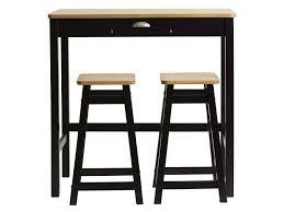 Table bar 90 x 45 cm + 2 tabourets MAYA coloris noir/chêne - Vente ...