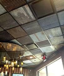 sheet metal ceiling panels corrugated in bathroom