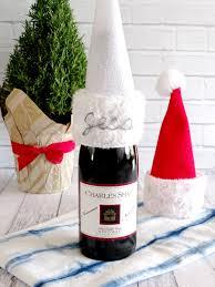 diy felt santa hat wine bottle topper