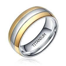 CERTIFIED <b>6mm</b> Titanium Two Tone Dome Polished Comfort Fit ...