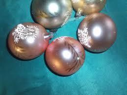 5 Alte Christbaumkugeln Glas Pastell Rosa Gold Kerzen