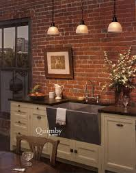 Gorgeous Triple White Glass Pendant Lighting Over White Kitchen Cabinet  Feat Concrete Double Sink With Exposed Brick Wall As Decorate Vintage Style  Open ...