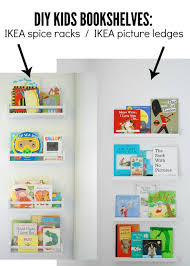 kids bookshelves comparison- IKEA spice racks and IKEA picture ledges - via  the sweetest digs