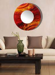 fire like modern metal wall mirror