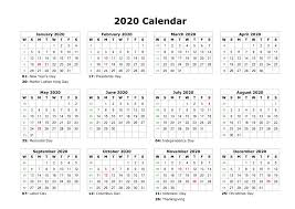 Monthly 2020 Calendar Templates Printable 2020 Calendar Template Free Printable 2019