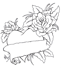 skill heart with flowers coloring pages roses and hearts 1 16317 of