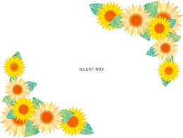 無料イラスト ひまわりフレーム花枠飾り枠夏背景水彩手書き
