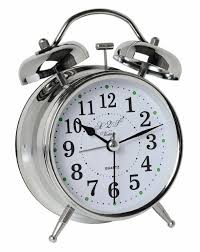 a2s vintage style alarm clock twin bell og battery operated great for heavy sleepers and travel silver classic