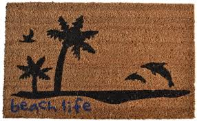 Amazon.com : Imports Décor Vinyl Backed Coir Doormat, Beach Life ...