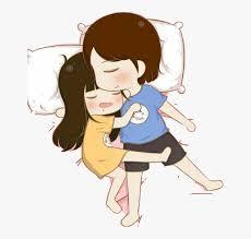 cuddling sleep together cartoon hd png