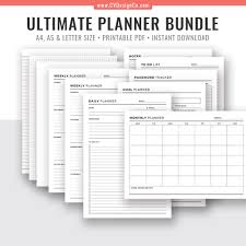 Monthly Weekly Daily Planner 2019 Ultimate Planner Bundle Printable Daily Planner Weekly Planner Monthly Planner Goal Planner To Do List Planner Inserts Filofax A5 A4