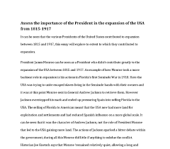 assess the importance of the president in the expansion of the usa  document image preview
