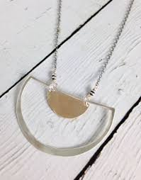 handmade sterling semi circle pendant with 14kt gold filled half moon on oxidized chain silver in the city
