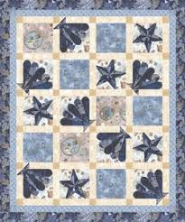 Free Downloadable Quilt Patterns & Seascape by Hoffman Fabrics.
