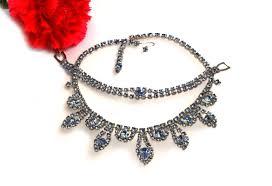 blue crystal vine bracelet and necklace rhinestone