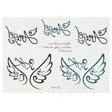 K158 Křídla Styl Tělo Tetování Nálepka černá