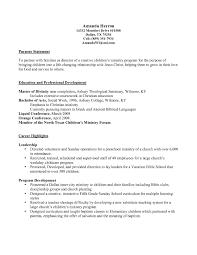Ministry Resume Objective Sidemcicek Com