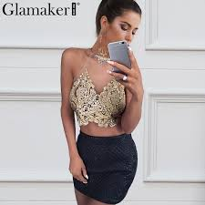 Glamaker Embroidery <b>transparent camisole tank top</b> Women ...