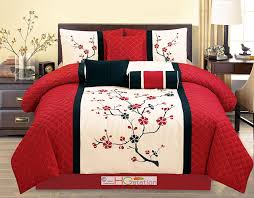 Amazon.com: 7-Pc Quilted Peach Plum Blossom Tree Embroidery Comforter Set  Red Off-White Black Queen: Home & Kitchen