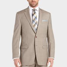 Cheap Mens Designer Suits Lauren By Ralph Lauren Tan Sharkskin Classic Fit Suit