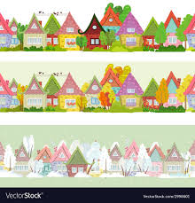 Seamless Border With Cartoon Houses And Trees For