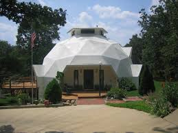 45' dome front entrance in spring.