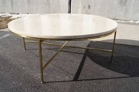Wonderful Travertine And Brass Coffee Table By Paul McCobb 2