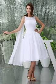 Sleeveless White Knee Length A Line Bateau Neck Chiffon Wedding