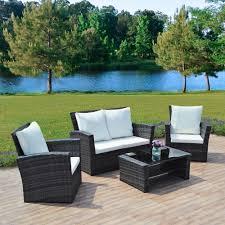 4 piece grey algarve rattan sofa set for patios conservatories